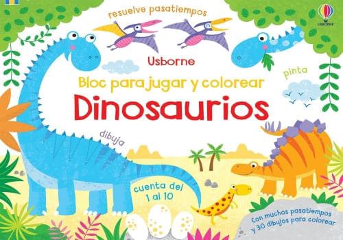 DINOSAURIOS - BLOC PARA JUGAR Y  COLOREAR